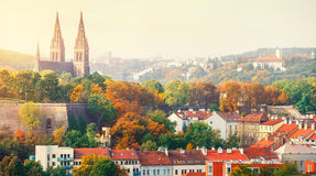 Prague sunset landscape from view to vysehrad Royalty Free Stock Photography