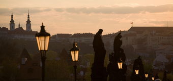 Prague sunset scenery Stock Image