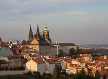 Prague sunset view from above Royalty Free Stock Photos