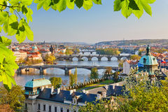 Prague at sunset. View on Vltava river and Prague at sunset Stock Image