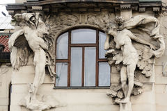 Prague telamon and caryatid relief Stock Photography
