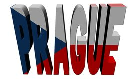 Prague text with Czech flag Royalty Free Stock Image