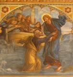 Prague - The Fresco Peter, Walking On Water Toward Jesus In Church Bazilika Svatého Petra A Pavla Na Vyšehrade Royalty Free Stock Photography