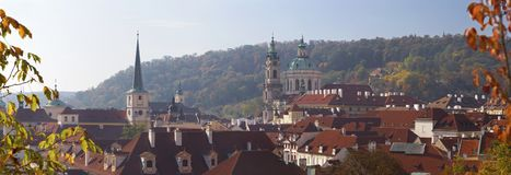 Prague - The Panoramic View From The Gardens Under The Castle To Mala Strana, St. Nicholas, And St. Thomas Church Stock Photo