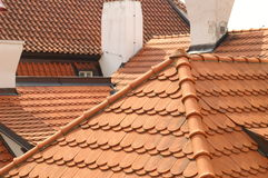 Prague tile roofs. Roofs of prague houses Royalty Free Stock Photography