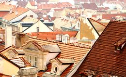 Prague tile roofs. Roofs of prague houses Stock Photo