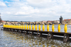 PRAGUE TJECK - MARS 11, 2016: Gula Penguine statyer vid floden Vltave i Prague, tjeck Charles Bridge i bakgrund Fotografering för Bildbyråer