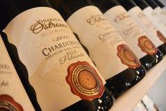 PRAGUE TJECK REPUBLIC-03 20 2017: Chardonnay vin Arkivbilder