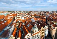 Prague (Tjeckien) aftonsikt. Royaltyfri Bild