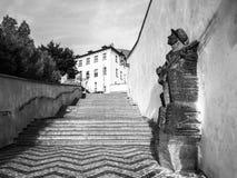 PRAGUE TJECKIEN - AUGUSTI 18, 2017: Staty av den tjeckiska musikern Karel Hasler på gammal slotttrappa, Prague slott Arkivfoto