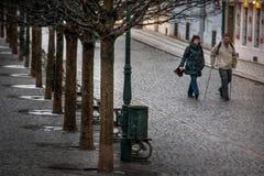 PRAGUE TJECKIEN - FEBRUARI 19, 2013: Gata för Na Kampe vid S royaltyfria foton