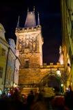 Prague Tjeckien - Januari 01, 2014: Nattfoto av galandet Arkivfoton