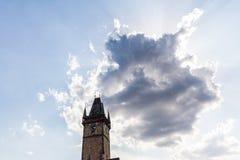 PRAGUE TJECKIEN - JULI 18: Sikt till den gamla stadstaden Hal Arkivfoton
