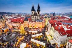 Prague Tjeckien - julmarknad Arkivbild