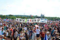 Prague Tjeckien - Juni 23 2019: Folkmassa av folkprotester mot premiärministern Babis och minister av rättvisa på Letna, royaltyfri fotografi