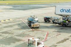 PRAGUE TJECKIEN - JUNI 16, 2017: Vaclav Havel Prague International Airport Ruzyne, Tjeckien Luftnivå in Arkivfoto