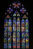 PRAGUE TJECKIEN - 12 kan, 2017: Den härliga inre av Sten Vitus Cathedral i Prague, Tjeckien Royaltyfria Foton