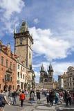 PRAGUE TJECKIEN - SEPTEMBER 05, 2015: Foto av den gamla stadfyrkanten Royaltyfri Bild