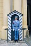 Prague/Tjeckien - 08 09 2016: Slotten bevakar Hradni straz av presidentpalatset arkivbild