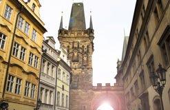 Prague Tjeckien, turist- begrepp som reser i Europa, f.m. Royaltyfria Foton