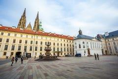 24 01 2018 Prague, Tjeckien - uppehåll av den tjeckiska presien Royaltyfria Bilder