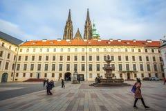 24 01 2018 Prague, Tjeckien - uppehåll av den tjeckiska presien Fotografering för Bildbyråer