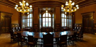 Prague Tjeckien - 6 05 2019: Utst?llning av det nationella museet i f?r en tid sedan renoverad byggnad i 2018 i Prague arkivbilder
