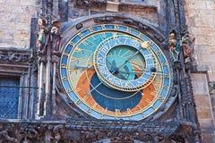 Prague tjeckisk republik: den astronomiska klockan, detalj Royaltyfri Foto