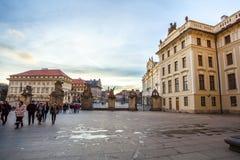 24 01 2018 Prague, tjeckiska Rebuplic - sikt av staden från oben Arkivfoton