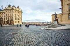 24 01 2018 Prague, tjeckiska Rebuplic - sikt av staden från oben Fotografering för Bildbyråer
