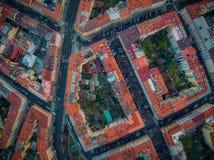 Prague topdown drone vinohrady bird view royalty free illustration