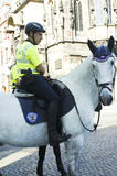 Prague tourist Police. Picture of a Prague tourist Police mounted on a horse royalty free stock photography
