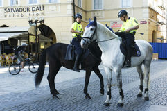 Prague tourist police force. Picture of Prague tourist police force mounted on horses Royalty Free Stock Photo