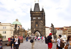 Prague, tourists on the Charles Bridge Stock Photography