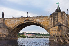 Prague, tourists on the Charles Bridge. Royalty Free Stock Photos