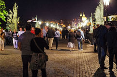 Prague - Tourists on Charles Bridge Royalty Free Stock Image