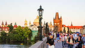 Prague - Tourists on Charles Bridge Stock Photo