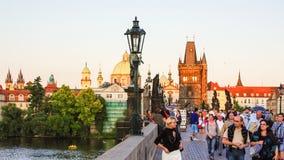 Prague - Tourists on Charles Bridge Stock Photo