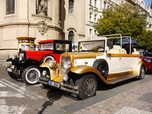 Prague Tours, Vintage Cars. Old Town Prague - Luxury vintage cars waiting for tourists. Tours Transport Prague. Czech Republic Stock Images