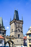 Prague. Tower on The Charles Bridge on Poltava river in Prague Stock Photo
