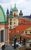 Prague towers. Towers and roofs of Prague Stock Photo