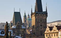 Prague towers. Panorama of prague historical towers in winter Royalty Free Stock Photo