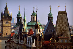 Prague towers. View of Prague roof tops Royalty Free Stock Images