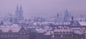 Prague towers before dawn in winter Stock Photography