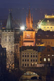 Prague towers at dusk Royalty Free Stock Photo