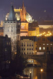 Prague towers at dusk Stock Images