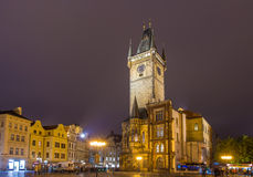 Prague town hall on spring night Stock Photos