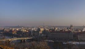 Prague town and river vitava in golden evening haze Praha travel Stock Photo