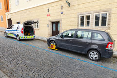 Prague. Traffic police. Royalty Free Stock Photography