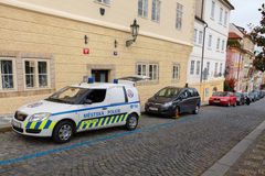 Prague. Traffic police. Prague, Czech Republic - October 1, 2014: The police are blocking the wheels of cars violators of traffic rules Royalty Free Stock Image